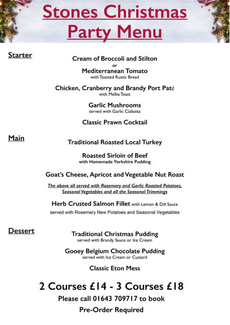 Stones Christmas Party Menu